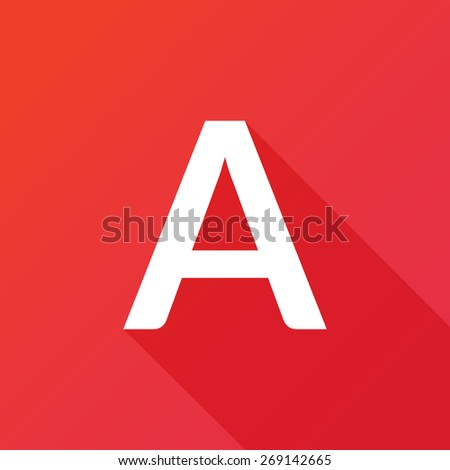 Illustration of a Letter with a Long Shadow - Letter A. - stock vector