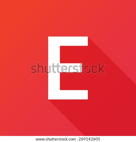 Illustration of a Letter with a Long Shadow - Letter E. - stock vector