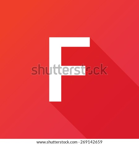 Illustration of a Letter with a Long Shadow - Letter F. - stock vector