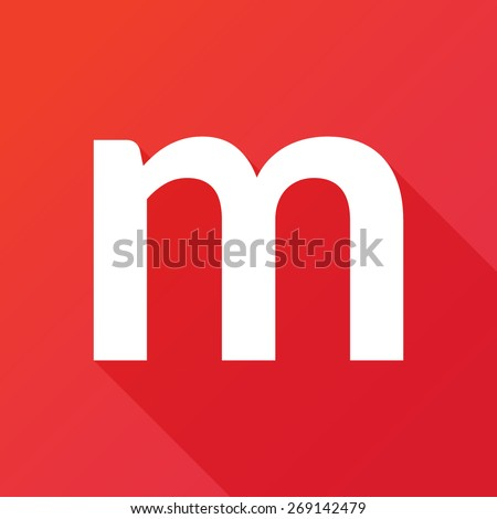Illustration of a Letter with a Long Shadow - Letter m. - stock vector