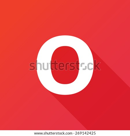 Illustration of a Letter with a Long Shadow - Letter o. - stock vector