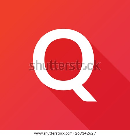 Illustration of a Letter with a Long Shadow - Letter Q. - stock vector