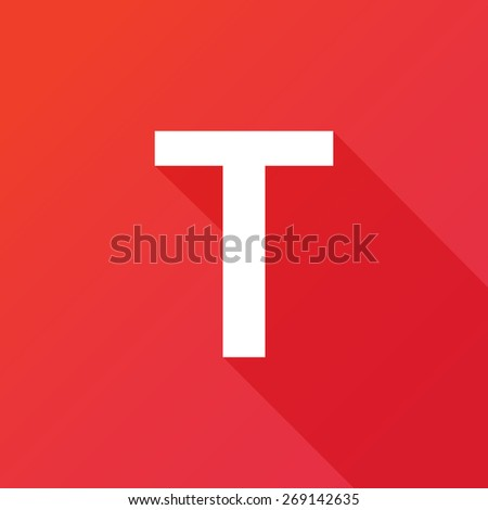 Illustration of a Letter with a Long Shadow - Letter T. - stock vector