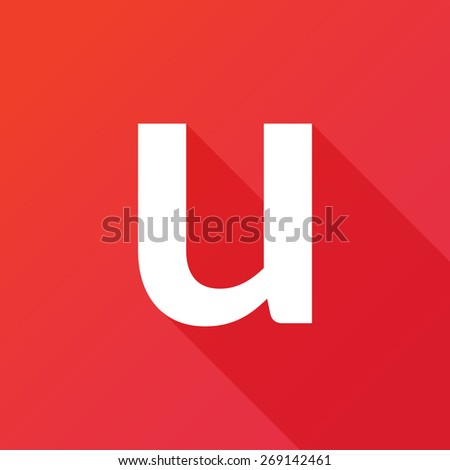 Illustration of a Letter with a Long Shadow - Letter u. - stock vector