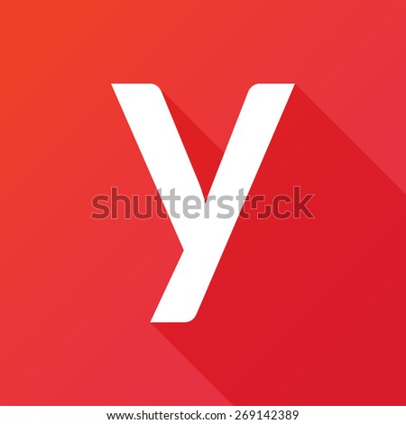 Illustration of a Letter with a Long Shadow - Letter y. - stock vector