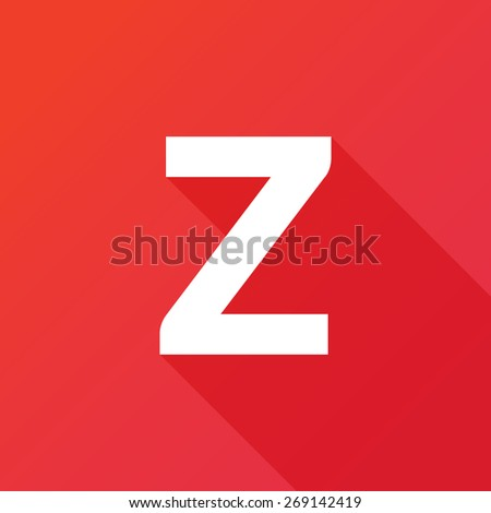 Illustration of a Letter with a Long Shadow - Letter z. - stock vector