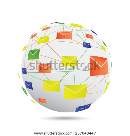 Illustration of a letters around the globe. Vector. - stock vector