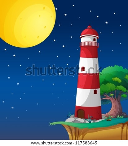 illustration of a light house in a dark night - stock vector