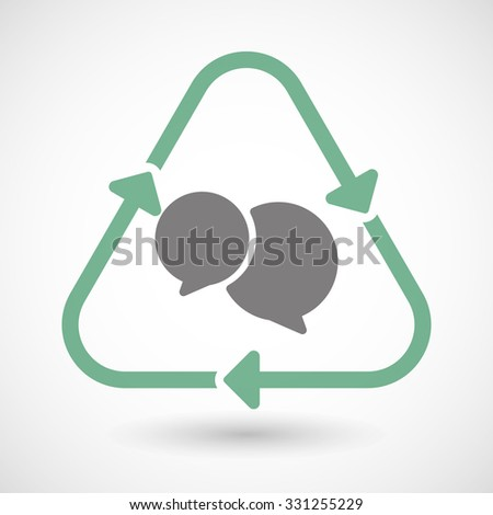 Illustration of a line art recycle sign icon with  comic balloons - stock vector