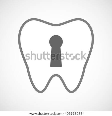 Illustration of a line art tooth icon with a key hole
