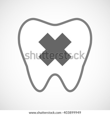 Illustration of a line art tooth icon with an irritating substance sign - stock vector
