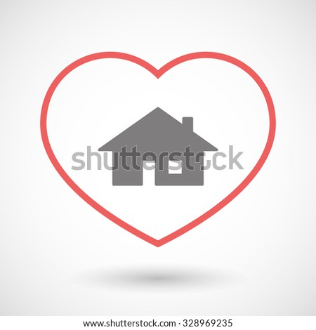 Illustration of a line heart icon with a house