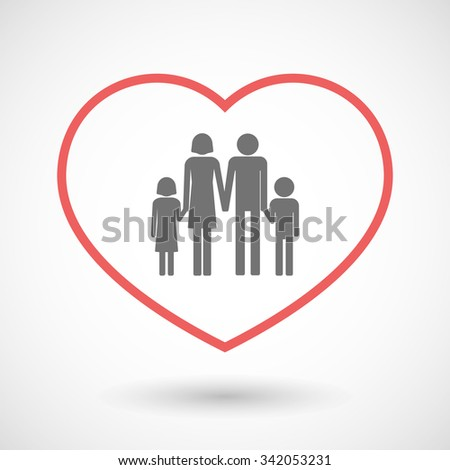 Illustration of a line hearth icon with a conventional family pictogram - stock vector