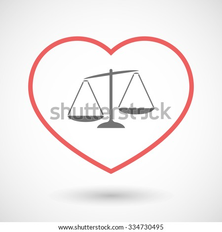 Illustration of a line hearth icon with  an unbalanced weight scale - stock vector