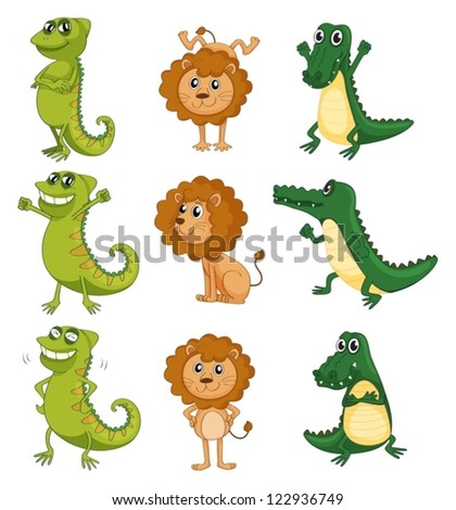 Illustration of a lion, a chameleon and a crocodile on a white background - stock vector