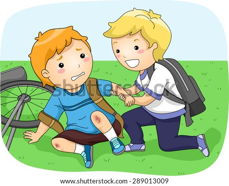 Illustration of a Little Boy Helping Another Boy Who Fell Off His Bike - stock vector