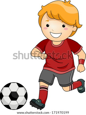 Illustration of a Little Boy in Soccer Gear About to Kick a Soccer Ball - stock vector