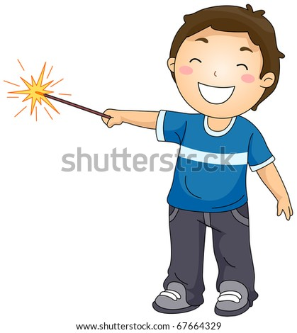 Illustration of a Little Boy Playing with a Sparkler - stock vector