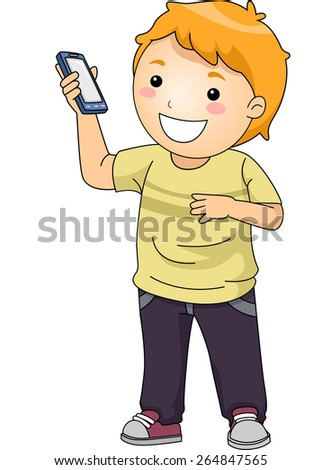 Illustration of a Little Boy Showing His Smartphone - stock vector