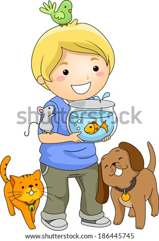 Illustration of a Little Boy Surrounded by Different Pets - stock vector