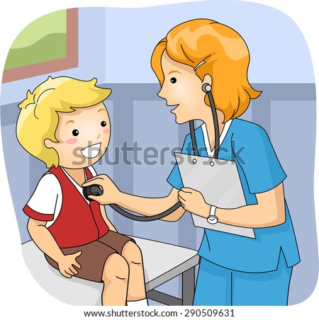 Illustration of a Little Boy Undergoing a Medical Checkup - stock vector