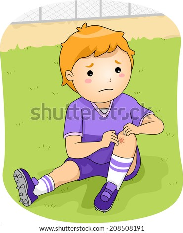 Illustration of a Little Football Player Checking His Injured Knee - stock vector