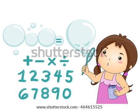 Illustration of a Little Girl Blowing Bubbles Over Math Symbols
