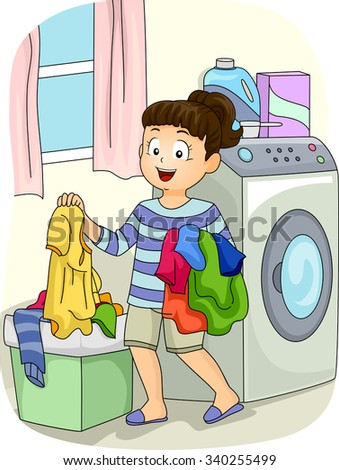 Illustration of a Little Girl Collecting Clothes from the Hamper - stock vector