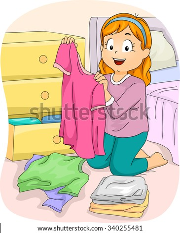 Illustration of a Little Girl Folding Freshly Washed Clothes - stock vector