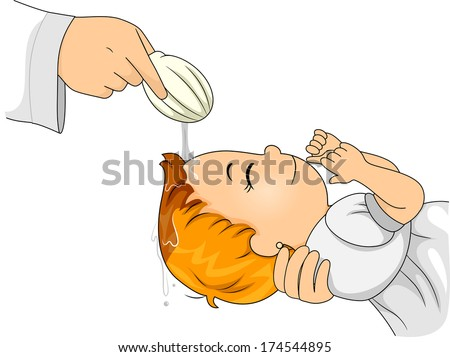 Illustration of a Little Girl Going Through a Catholic Baptism - stock vector