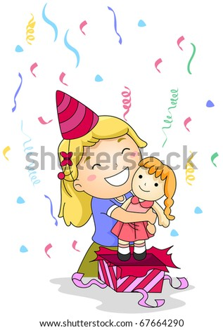 Illustration of a Little Girl Hugging the Gift She Received - stock vector