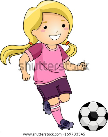 Illustration of a Little Girl Kicking a Soccer Ball - stock vector