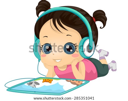 Illustration of a Little Girl Listening to an Audio Book with Her Tablet Computer - stock vector