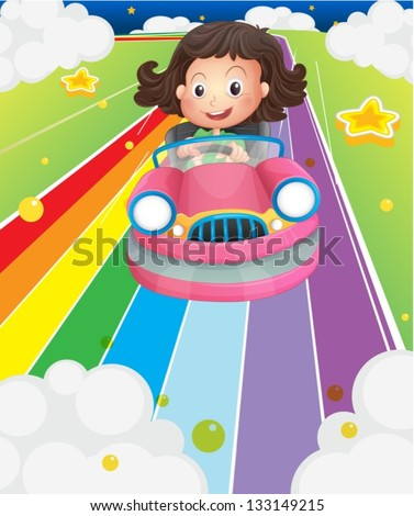 Illustration of a little girl riding in a pink car