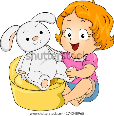 Illustration of a Little Girl Teaching Her Stuffed Bunny to Use the Potty - stock vector