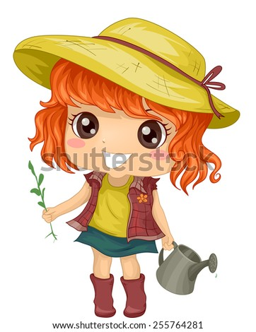 Illustration of a Little Girl Tending to Her Garden - stock vector