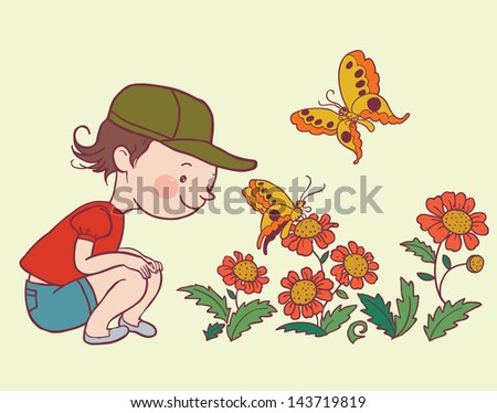 Illustration of a little girl watching a butterfly and flowers. Isolated objects and elements. Outline. Vector. - stock vector