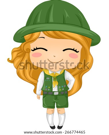 Illustration of a Little Girl Wearing a Girl Scout Costume - stock vector