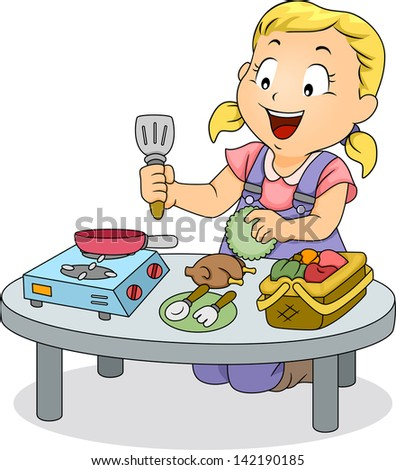 Illustration of a Little Kid Girl Playing with Kitchen Toys