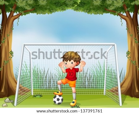 Illustration of a little soccer player in his red uniform - stock vector