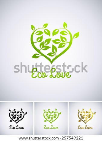 Illustration of a logo eco love - stock vector