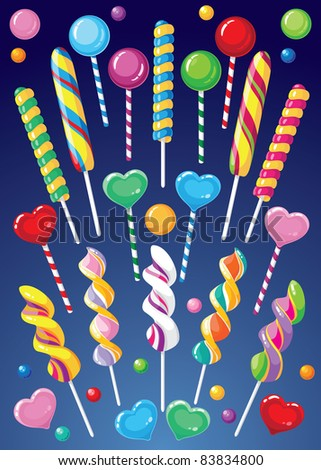 illustration of a lollipops set - stock vector
