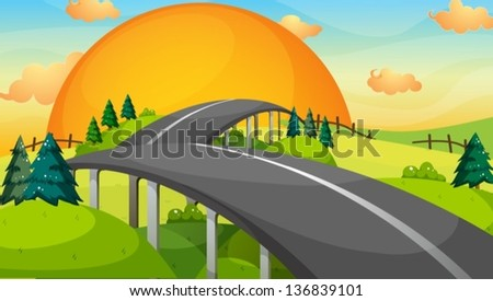Illustration of a long road with a sunset - stock vector
