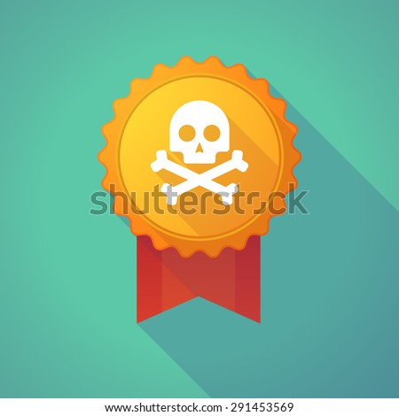 Illustration of a long shadow badge with a skull - stock vector
