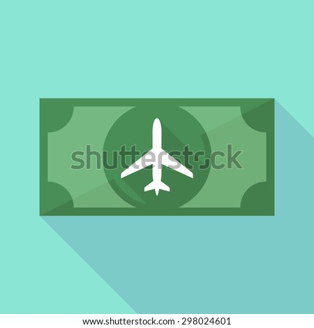 Illustration of a long shadow banknote icon with a plane - stock vector