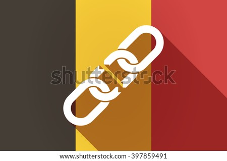 Illustration of a long shadow Belgium flag with a broken chain