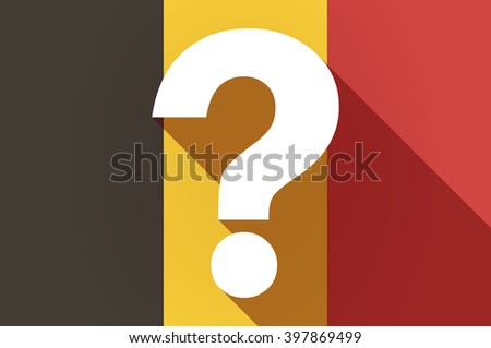 Illustration of a long shadow Belgium flag with a question sign