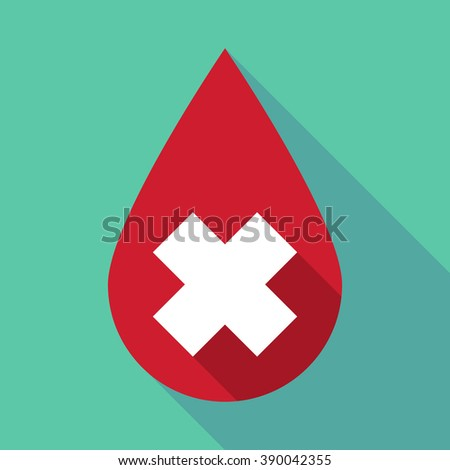 Illustration of a long shadow blood drop with an irritating substance sign - stock vector