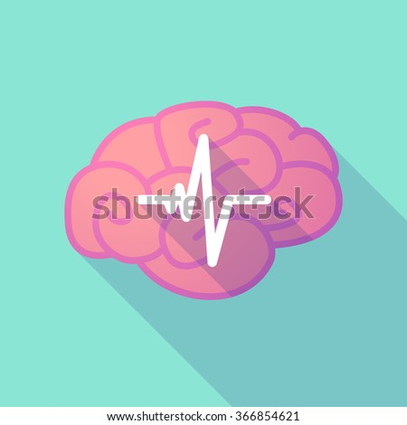 Illustration of a long shadow brain with a heart beat sign - stock vector