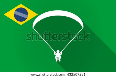 Illustration of a long shadow Brazil flag with a paraglider - stock vector